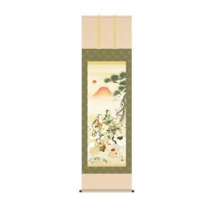 開運 掛け軸 七福神吉祥之図 長江桂舟(三美会) 表装品質保証 KZ2MD5-090