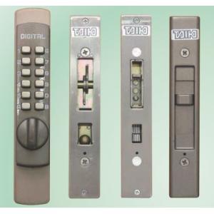 防犯対策-キーのいらないボタン操作の暗証番号式引違戸錠(鍵)で番号の変更も可能。引き戸の真ん中の鍵を...