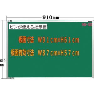 ピン使用可能室内掲示板 グリーン 910mm×610mm|web-takigawa