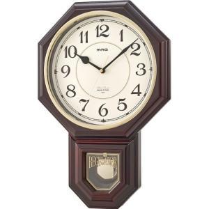 掛時計 静音 ウォールクロック ノア MAG マグ 西洋館 W-670 ブラウン 振り子 インテリア メロディ時報