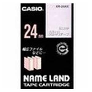 カシオ CASIO ネームランドテープ 24mm 白文字 透明 XR-24AX