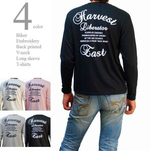 Tシャツ メンズ 長袖 Vネック バイカー プリント バックプリント 刺繍 ストレッチ素材 ハーベス...