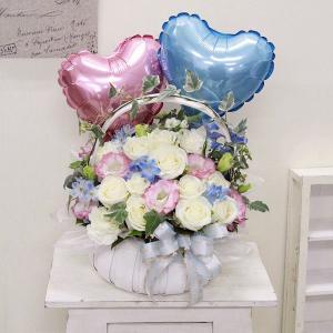 バルーンフラワー 結婚祝い ハートウェディング 白バラ アレンジ|webflora