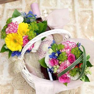 結婚祝い ワインと花 バスケットワイン ロザート ギフト プレゼント 贈り物 お中元|webflora
