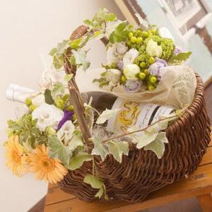 ワインと花 バスケットワインラルパン ギフト プレゼント 贈り物|webflora