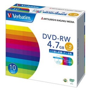 DVD-RW 4.7GB PCデータ用 2倍速対応 10枚スリムケース入り ワイド印刷可能|webshop-sakura