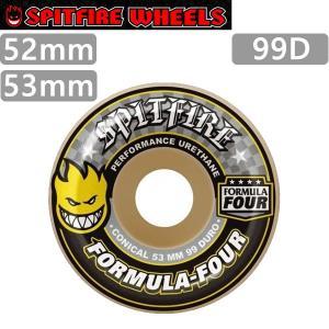 スケボー ウィール SPITFIRE F4 99D CONICAL  WHITE -YELLOW PRINT  52mm x31.5mmスピットファイア スケートボードウィール FORMULA FOUR|websports