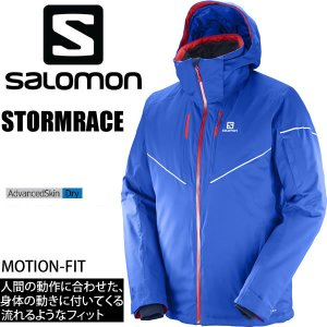 サロモン スキーウェア メンズ 17-18 STORMRACE JACKET /SURF THE WEB (ブルー) ストームレース ジャケット SALOMON スキーウエア 2018|websports