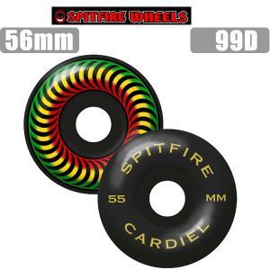 スケボー ウィール SPITFIRE/JOHN CARDIEL CLASSICS RASTA/BLACK  56mm お皿付き スピットファイア スケートボードウィール【C1】|websports