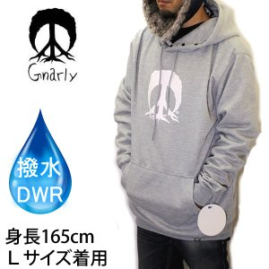 gnarly スノーボード 撥水パーカー ナーリー BONDED PEACETREE HOODIE /グレー  スノーボード 防水・撥水加工パーカー【C1】|websports