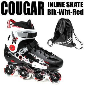 インラインスケート COUGAR クーガー インライン ハードシェル仕様 ブラック×ホワイト×レッド 男性用 メンズ ローラーブレード