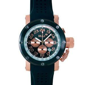 マックス 腕時計 MAX ブラック ピンクゴールド クロノグラフ MAX425|webtrade