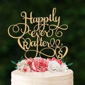 大型ケーキトッパーイニシャル「Happilyeverafter」ダブルハート|weddingdecor