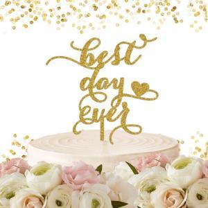 ケーキトッパー「bestdayever」ハートモチーフ weddingdecor