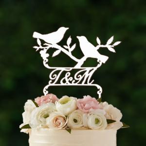 ケーキトッパーイニシャル入り・小鳥のシルエットカップル|weddingdecor