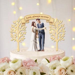 ケーキトッパー木々と旗&お好きなフレーズ|weddingdecor
