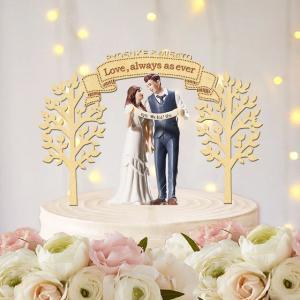 ケーキトッパー名入れ・木々と旗&お好きなフレーズ|weddingdecor