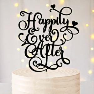 大型ケーキトッパー「Happilyeverafter」04カリグラフィーハート有&無|weddingdecor