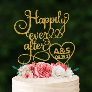 ケーキトッパー日付・イニシャルハート「Happilyeverafter」|weddingdecor