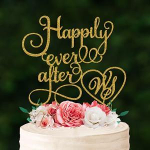 ケーキトッパーイニシャルハート「Happilyeverafter」|weddingdecor