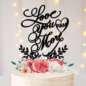ケーキトッパーイニシャル「Love you more」ハートリース型|weddingdecor