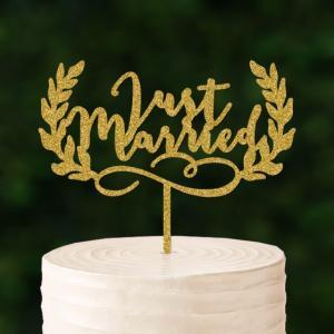 ケーキトッパー「JustMarried」リース型|weddingdecor