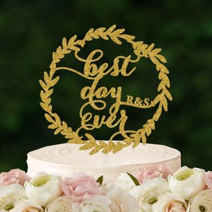 ケーキトッパーイニシャル入り「bestdayever」リース型|weddingdecor