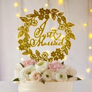 ケーキトッパー草花リースJustMarried|weddingdecor