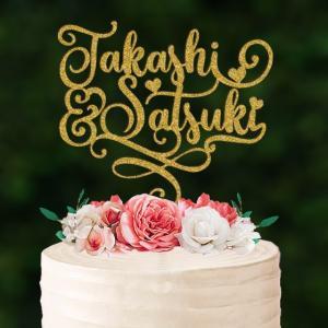 ケーキトッパー名前・名入れカリグラフィーハート型naire08 weddingdecor