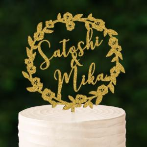 リース型ケーキトッパー名前・名入れnaire10|weddingdecor