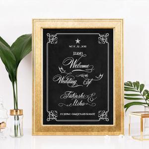 p003_黒板クラシカル_カリグラフィーバード_コンビニ印刷の結婚式ウェルカムボード|weddingdecor
