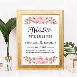 p005_白・ボタニカルヴィンテージフラワー_コンビニ印刷の結婚式ウェルカムボード|weddingdecor