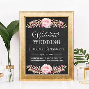 p006_黒板ボタニカルヴィンテージフラワー_コンビニ印刷の結婚式ウェルカムボード|weddingdecor