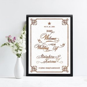 p012_白陶磁クラシカル_カリグラフィーバード_コンビニ印刷の結婚式ウェルカムボード|weddingdecor
