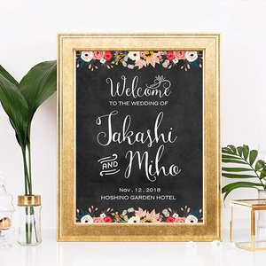 p015_パステルスケッチ黒板フラワー_コンビニ印刷の結婚式ウェルカムボード|weddingdecor
