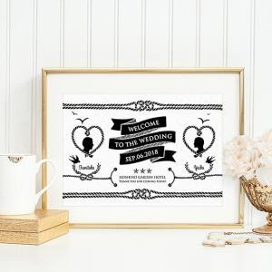 p020マリンモノクロ・選べるデザイン3VER.シルエット碇ロープ横_コンビニ印刷の結婚式ウェルカムボード|weddingdecor