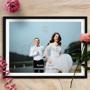 p027_お写真ウェルカムボードver.5_コンビニ印刷4パターン納品|weddingdecor