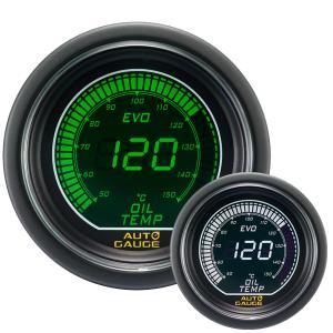 オートゲージ 油温計 52Φ デジタルLCDディスプレイ ホワイト/グリーン|weimall