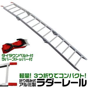 アルミラダーレール 軽量  折りたたみ式 3つ折り ハシゴ型B 超軽量5kg コンパクト 脚付 タイダウンベルト付|weimall