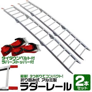 アルミラダーレール 軽量  折りたたみ式 3つ折り ハシゴ型B 超軽量5kg コンパクト 脚付 タイダウンベルト付 2本セット|weimall