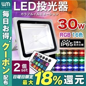 LED投光器  30W 300W相当 RGB16色 イルミネーション リモコン付 スポットライト ステージ 2個セット|weimall
