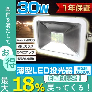 LED投光器 30W 300W相当 防水 LEDライト 作業灯 防犯灯 ワークライト 看板照明 昼光色 一年保証 weimall