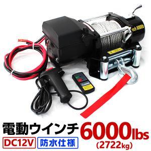 電動ウインチ 12V 電動ホイスト 2722kg / 6000LBS 電動 ウインチDC12V 電動 ホイスト