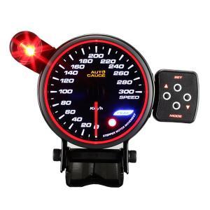 オートゲージ スピードメーター 80Φ エンジェルリング スモークレンズ ワーニング機能付 ピークホールド機能付|weimall