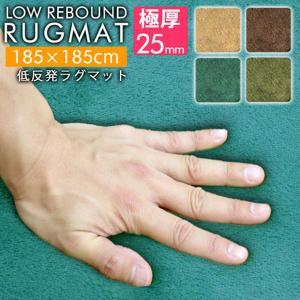 ラグ 低反発 厚さ25mm 2.2畳 185x185cm 洗える 抗菌 防ダニ 滑り止め付き ラグマット カーペット 低反発ウレタン 厚手 絨毯 おしゃれ weimall