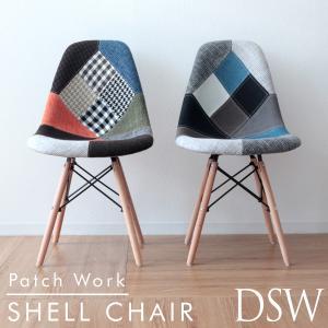 イームズチェア ファブリック パッチワーク ダイニングチェア DSW 木脚 2色 柄 滑り止め付き eames リプロダクト 椅子 イス 北欧  デザイナーズ|weimall