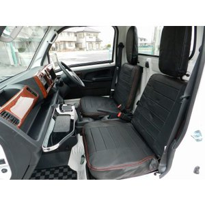 J-NEXT ダイハツ ハイゼット(S500P/S510P)用 シートカバー ブラック/ブラウン DAIHATSU HIJET 軽トラック 軽トラカスタム|welcstore|02