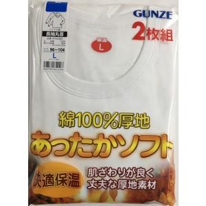 ≪感謝還元ポイント5倍up≫2枚組グンズ長袖丸首シャツ綿100%厚地(あったかソフト)
