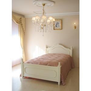 輸入 オーダー家具 レディメイ セミダブルベッド ビバリーヒルズの彫刻 ホワイト色
