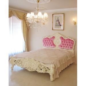 繊細にほどこされた彫刻と優美な曲線が美しいゴージャスなベッドです。 お客様のご要望にお応えして、イニ...